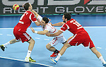 21.01.2013 Barcelona, Spain. IHF men's world championship, Eighth Final. Picture show Orzechowsi  in action during game Hungary vs Poland at Palau St Jordi