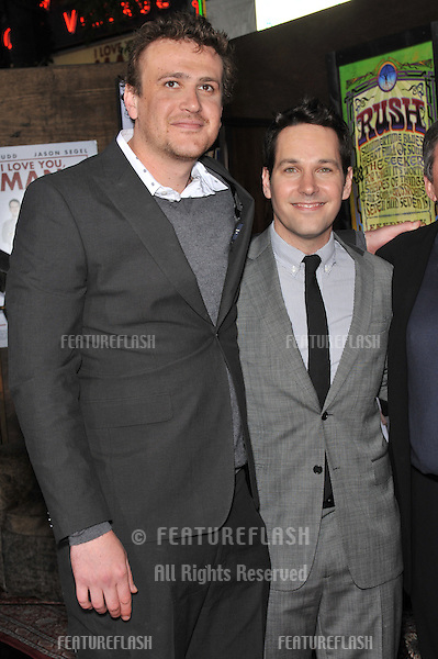 "Jason Segel (left) & Paul Rudd at the Los Angeles premiere of their new movie ""I Love You, Man"" at the Mann's Village Theatre, Westwood..March 17, 2009  Los Angeles, CA.Picture: Paul Smith / Featureflash"
