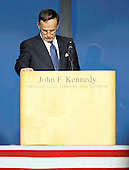 Boston, MA - August 28, 2009 -- Paul Kirk Jr. Chairman of the John F. Kennedy Library speaks during the Celebration of Life Memorial Service for Senator Edward Kennedy at the John F. Kennedy Library in Boston, Massachusetts, USA 28 August 2009.  Senator Edward Kennedy, 77, died 25 August 2009 after a 14-month battle with brain cancer..Credit: CJ  Gunther - Pool via CNP