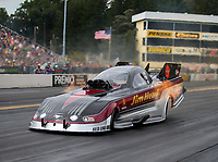 Sep 15, 2018; Mohnton, PA, USA; NHRA funny car driver Jonnie Lindberg during qualifying for the Dodge Nationals at Maple Grove Raceway. Mandatory Credit: Mark J. Rebilas-USA TODAY Sports