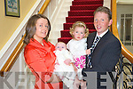 Baby Killian Fitzgerald, Fossa, pictured with his parents Kay and Tim and sister sarah at his christening celebrations in the Dromhall on Sunday......