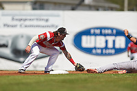 Batavia Muckdogs second baseman Taylor Munden (21) tags Jhohan Acevedo sliding in during a game against the State College Spikes August 23, 2015 at Dwyer Stadium in Batavia, New York.  State College defeated Batavia 8-2.  (Mike Janes/Four Seam Images)