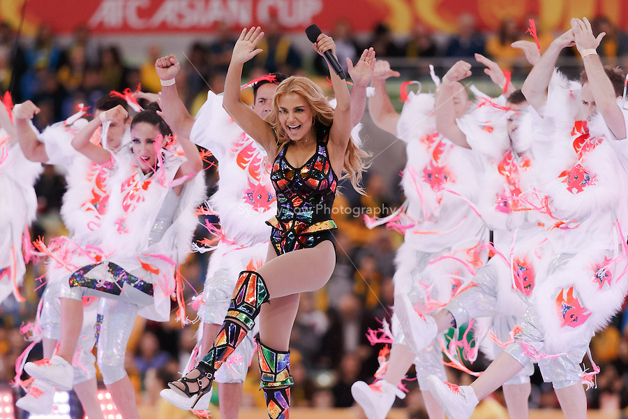 Havana Brown performs at the opening ceremony at the 2015 AFC Asian Cup match between Australia and Kuwait at the Melbourne Rectangular Stadium on 9 January 2015