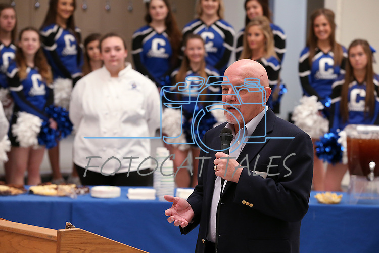 Mike Jackson, president of Micromanipulator, speaks at a ceremony launching the Carson City School District Foundation at Carson High School, in Carson City, Nev., on Wednesday, Feb. 18, 2015. <br /> Photo by Cathleen Allison
