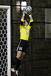 10 November 2012: Loyola Maryland's Colleen Folan makes a save. The Duke University Blue Devils played the Loyola University Maryland Greyhounds at Koskinen Stadium in Durham, North Carolina in a 2012 NCAA Division I Women's Soccer Tournament First Round game. Duke won the game 6-0.