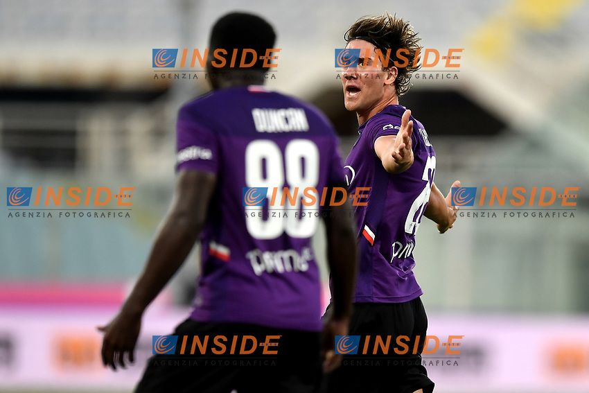 Dusan Vlahovic of Fiorentina reacts during the Serie A football match between ACF Fiorentina and Brescia Calcio at Artemio Franchi stadium in Florence ( Italy ), June 22th, 2020. Play resumes behind closed doors following the outbreak of the coronavirus disease. <br /> Photo Antonietta Baldassarre / Insidefoto