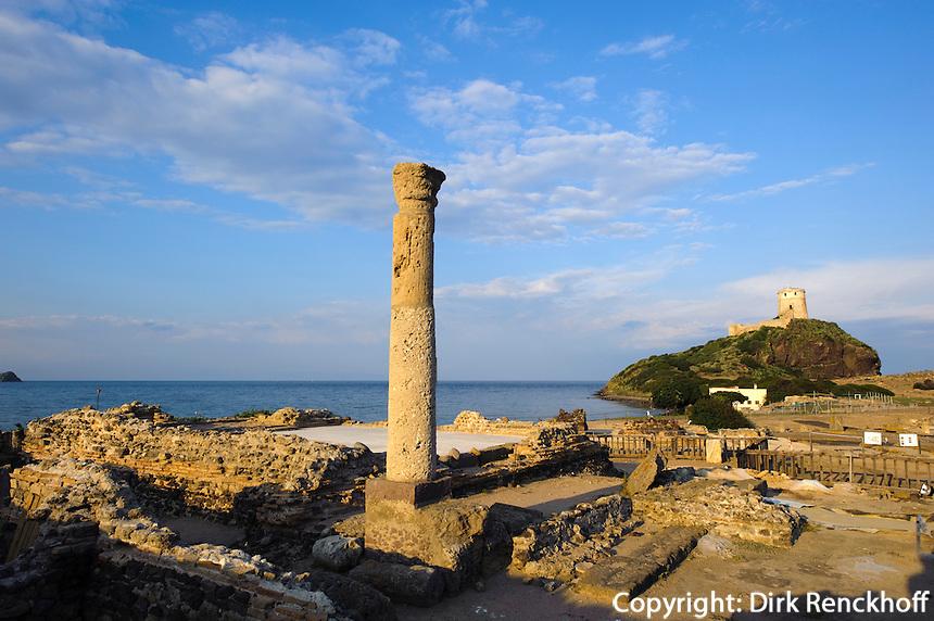 Punisch-Phönizsch-römische Ausgrabung in Nora (9.Jh.v.Chr. bis 8,Jh.n.Chr., Provinz Cagliari, Süd Sardinien, Italien