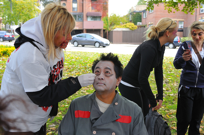 "Toronto's Inaugural ""The Running Dead"" Infected 5K Event, Sunday October 27, 2013, in conjunction with The Toronto After Dark Film Festival, Metropolis Agencies and The Office Pub, partial event proceeds in support of Heart & Stroke Foundation."
