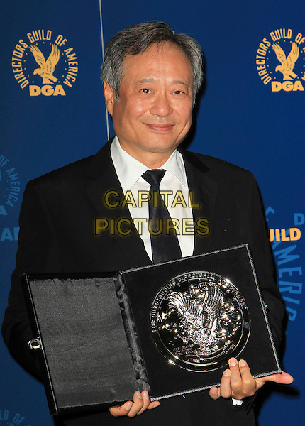 Ang Lee .65th Annual Directors Guild Of America Awards - Press Room Held At The Ray Dolby Ballroom at Hollywood & Highland Center, Hollywood, California, USA..February 2nd, 2013.half length black suit white shirt tie  award trophy winner .CAP/ADM/KB.©Kevan Brooks/AdMedia/Capital Pictures.