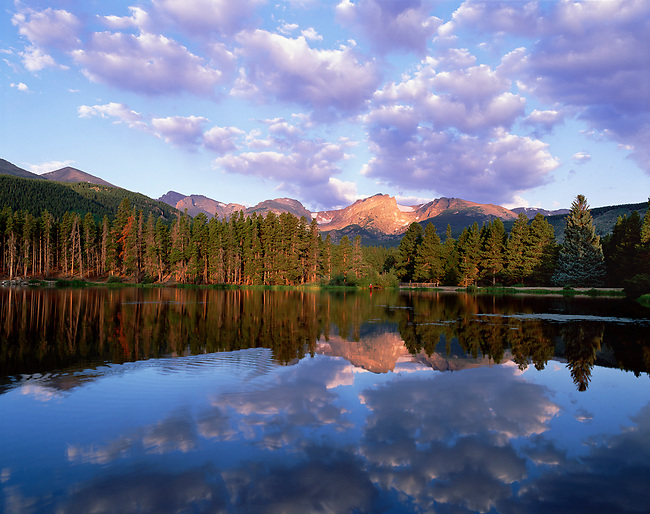 Sprague Lake, summer, sunrise, daybreak, fisherman, evergreen trees, Rocky Mountain National Park, Colorado