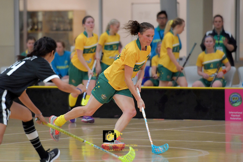 Australia&rsquo;s Carolyn Margetts in action during the World Floorball Championships 2017 Qualification for Asia-Oceania Region - Thailand v Australia at ASB Sports Centre , Wellington, New Zealand on Wednesday 31 January 2017.<br /> Photo by Masanori Udagawa<br /> www.photowellington.photoshelter.com.