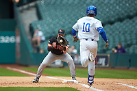 Ben Haefner (6) of the Sam Houston State Bearkats makes the out at first base against Luke Becker (10) of the Kentucky Wildcats during game four of the 2018 Shriners Hospitals for Children College Classic at Minute Maid Park on March 3, 2018 in Houston, Texas. The Wildcats defeated the Bearkats 7-2.  (Brian Westerholt/Four Seam Images)