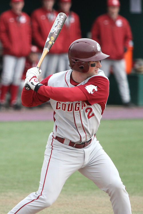 Cody Bartlett (#2), Washington State infielder, dials in on a pitch during the Cougars Pac-10 conference extra-inning victory over arch-rival Washington in Seattle, Washington, on April 3, 2010.