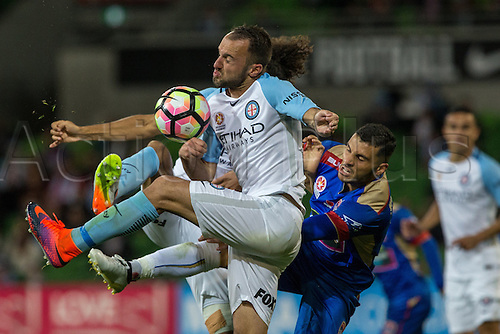 10.11.2016. Melbourne, Australia.  Ivan Franjic of Melbourne City and Andrew Nabbout of the Newcastle Jets contest the ball during the 6th round of the Hyundai A-League between Melbourne City and the Newcastle Jets on November 10, 2016, at AAMI Park