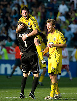 Will Hesmer, Danny O'Rourke, Chad Marshall celebrate during MLS Cup 2008. Columbus Crew defeated the New York Red Bulls, 3-1, Sunday, November 23, 2008. Photo by John Todd/isiphotos.com