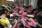 Primoz Roglic (SLO) Team Jumbo-Visma with fans at sign on before Stage 10 of the 2019 Giro d'Italia, running 145km from Ravenna to Modena, Italy. 21st May 2019<br /> Picture: Fabio Ferrari/LaPresse | Cyclefile<br /> <br /> All photos usage must carry mandatory copyright credit (© Cyclefile | Fabio Ferrari/LaPresse)