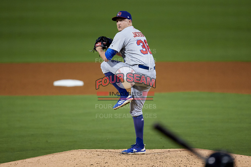 Buffalo Bisons relief pitcher Zach Jackson (38) in action against the Caballeros de Charlotte at BB&T BallPark on July 23, 2019 in Charlotte, North Carolina. The Bisons defeated the Caballeros 8-1. (Brian Westerholt/Four Seam Images)