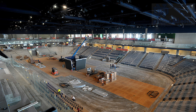 Aug. 2, 2011; Construction work on the Compton Family Center arena...Photo by Matt Cashore/University of Notre Dame
