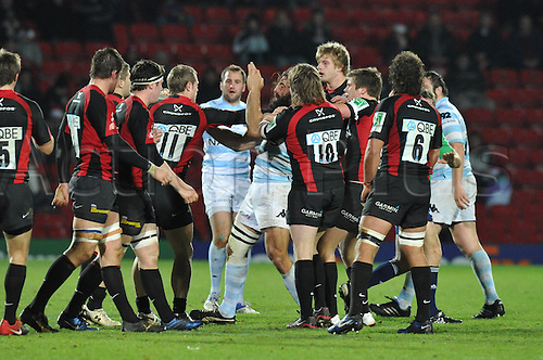 11.12.2010 Sebastien Chabal No 8 of Racing Metro 92 has an argument during the ERC Heineken Cup Pool 2 Rugby match  from Vicarage Road. Saracens v Racing Metro 92.