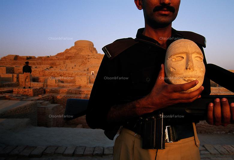 MohenjoDaro artifact of stone face.