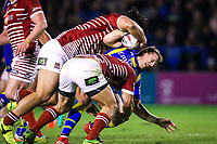 Picture by Alex Whitehead/SWpix.com - 09/03/2017 - Rugby League - Betfred Super League - Warrington Wolves v Wigan Warriors - Halliwell Jones Stadium, Warrington, England - Warrington's Kurt Gidley is tackled by Wigan's Taulima Tautai and Thomas Leuluai.