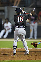 Roldani Baldwin (16) of the Salem Red Sox at bat during the 2018 Carolina League All-Star Classic at Five County Stadium on June 19, 2018 in Zebulon, North Carolina. The South All-Stars defeated the North All-Stars 7-6.  (Brian Westerholt/Four Seam Images)