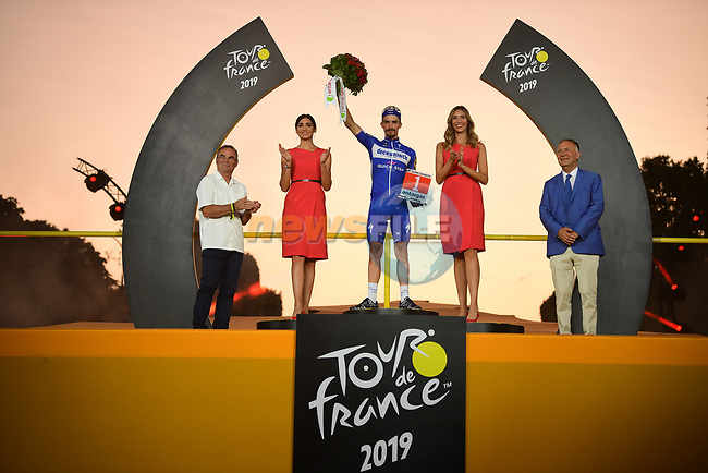 Julian Alaphilippe (FRA) Deceuninck-Quick Step is awarded the most combative rider of the entire Tour on the final podium at the end of Stage 21 of the 2019 Tour de France running 128km from Rambouillet to Paris Champs-Elysees, France. 28th July 2019.<br /> Picture: ASO/Pauline Ballet | Cyclefile<br /> All photos usage must carry mandatory copyright credit (© Cyclefile | ASO/Pauline Ballet)