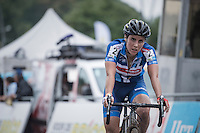 victory for Sanne Cant (BEL/Enertherm-Beobank) at the finish line<br /> <br /> Brico-cross Geraardsbergen 2016<br /> womens race