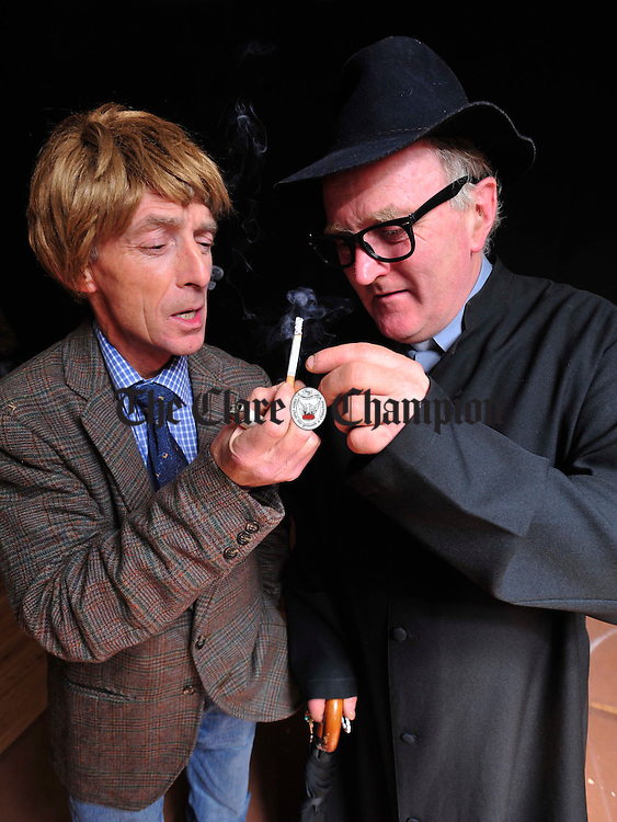 Terence Lambert as the Lodger and Michael Daffey as Fr Tim in rehearsal for the Spancil Hill Drama Group's production of A Yard of a Counter. Photograph by Declan Monaghan