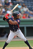 Second baseman Kevin Josephina (55) of the Rome Braves bats in a game against the Greenville Drive on Thursday, September 1, 2016, at Fluor Field at the West End in Greenville, South Carolina. Rome won, 3-2. (Tom Priddy/Four Seam Images)
