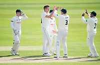 Picture by Allan McKenzie/SWpix.com - 20/04/2018 - Cricket - Specsavers County Championship - Yorkshire County Cricket Club v Nottinghamshire County Cricket Club - Emerald Headingley Stadium, Leeds, England - Nottinghamshire's Jake Ball celebrates the wicket of Yorkshire's Alex Lees.