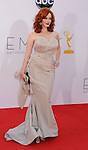 LOS ANGELES, CA - SEPTEMBER 23: Christina Hendricks  arrives at the 64th Primetime Emmy Awards at Nokia Theatre L.A. Live on September 23, 2012 in Los Angeles, California.
