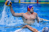 3 WINKELHORST Jorn Netherlands scores a goal on penalty <br />  <br /> Budapest 14/01/2020 Duna Arena <br /> ROMANIA (white caps) Vs. NETHERLANDS (blue caps) Men  <br /> XXXIV LEN European Water Polo Championships 2020<br /> Photo  © Andrea Staccioli / Deepbluemedia / Insidefoto