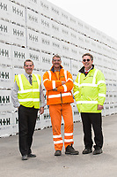 From left are Logistics Manager Rob Pettican, Driver Chris Richards and Martin Ashton from Linde