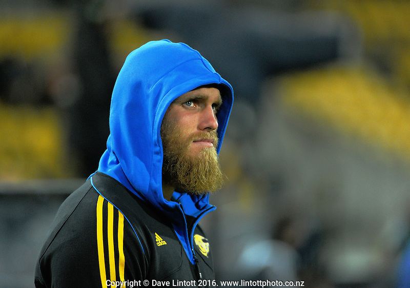 Brad Shields watches from the bench during the Super Rugby match between the Hurricanes and Southern Kings at Westpac Stadium, Wellington, New Zealand on Friday, 25 March 2016. Photo: Dave Lintott / lintottphoto.co.nz