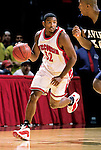 Roy Boone #32 of the University of Wisconsin handles the ball against the Xavier Musketeers at the Kohl Center in Madison, WI, on 12/15/2000. (Photo by David Stluka)