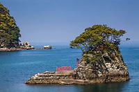 Nishiizu's Shrine and Torii Gate in their harbor on the Izu Peninsula
