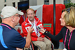 LONDON, ENGLAND 26/08/2012 - Garett Hickling of Wheelchair Rugby is interviewed by the media after being announced as the flag bearer for the Opening Ceremonies during a pep rally at Canada House at the London 2012 Paralympic Games. (Photo: Phillip MacCallum/Canadian Paralympic Committee)