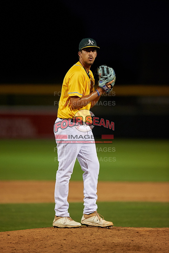 AZL Athletics Gold relief pitcher David Leal (38) during an Arizona League game against the AZL Rangers on July 15, 2019 at Hohokam Stadium in Mesa, Arizona. The AZL Athletics Gold defeated the AZL Athletics Gold 9-8 in 11 innings. (Zachary Lucy/Four Seam Images)