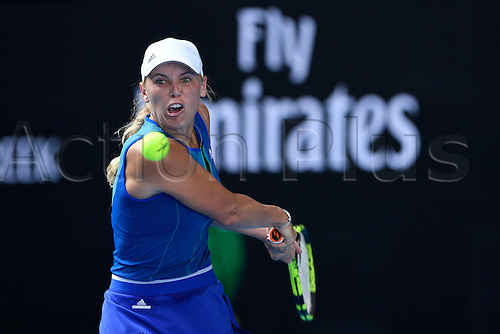 January 17th 2017, Melbourne Park, Melbourne, Australia;  Caroline Wozniacki (DEN) during her straight set win over Arina Rodionova (AUS) today in  round 1,  2017 Australian Open Tennis Grand Slam tournament