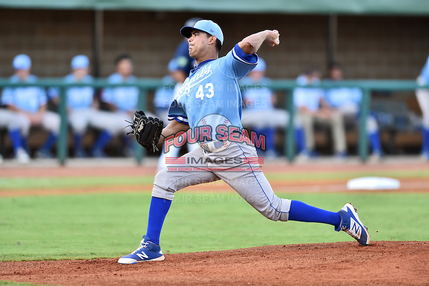 Burlington Royals starting pitcher Cristian Castillo (43) delivers a pitch during game against the Elizabethton Twins at Joe O'Brien Field on August 24, 2016 in Elizabethton, Tennessee. The Royals defeated the Twins 8-3. (Tony Farlow/Four Seam Images)