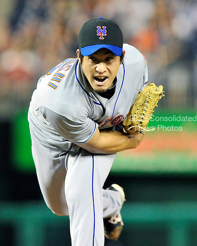 New York Mets pitcher Ryota Igarashi (18) pitches in the ninth inning against the Washington Nationals at Nationals Park in Washington, D.C. on Thursday, July 1, 2010.  The Nationals won on a walk-off sacrifice fly 2 - 1..Credit: Ron Sachs / CNP.(RESTRICTION: NO New York or New Jersey Newspapers or newspapers within a 75 mile radius of New York City)