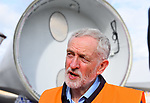 Pictured:  Labour leader Jeremy Corbyn by wind turbines during his visit to the Fawley Power Station.<br /> <br /> Labour Leader Jeremy Corbyn to visits a wind turbine facility in Southampton today, Wednesday.  <br />  <br /> On a visit to a wind turbine logistics facility in Southampton, Leader of the Labour Party Jeremy Corbyn MP will set out how Labour's policy to invest in green energy will create jobs and benefit coastal communities across the UK. <br /> <br /> © Roger Arbon/Solent News & Photo Agency<br /> UK +44 (0) 2380 458800