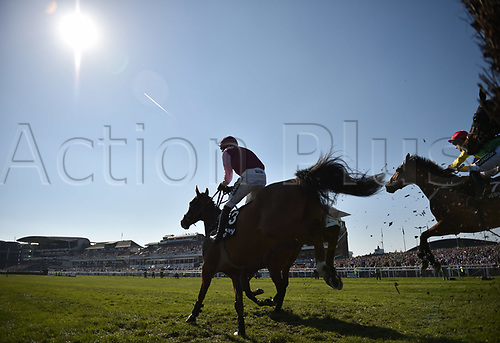 April 8th 2017, Aintree Racecourse, Liverpool, England; Randox Health Grand National Festival Horse racing, Grand National Day; Winner Sizing Codelco ridden by Robbie Powerraces still has plenty to do in the Betware Handicap Chase