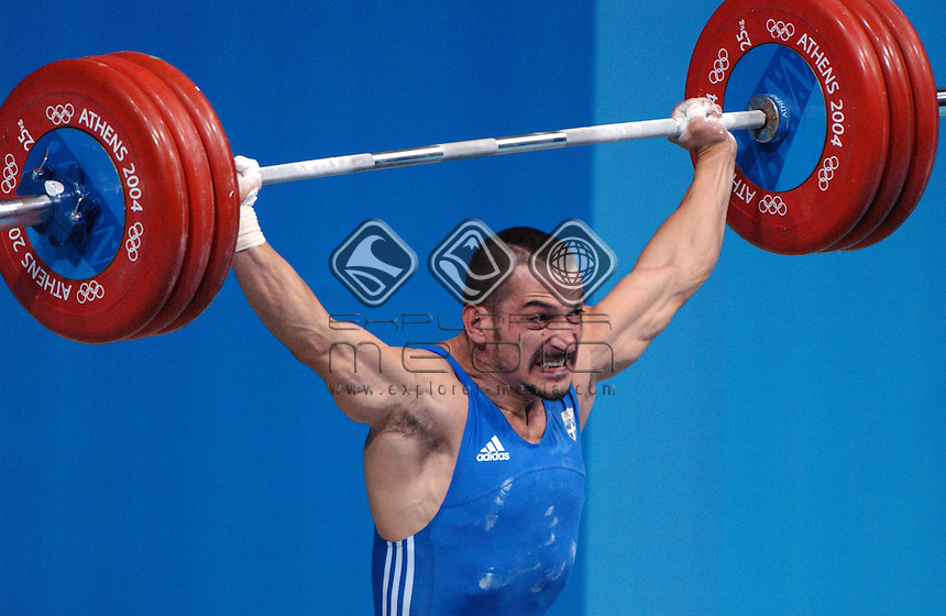 Pyrros Dimas (GRE) - Bronze<br /> Weightlifting - Men's 85kg<br /> Summer Olympics - Athens Greece 2004<br /> Day 08, 21st August 2004.<br /> &copy; Sport the library/Ryan Gormly