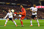 Daniel Sturridge of Liverpool attacks against Guillermo Varela and Marcus Rashford of Manchester United during the UEFA Europa League match at Anfield. Photo credit should read: Philip Oldham/Sportimage