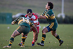 I. Tuifua & S. Cooper tackle O. Pultua. Counties Manukau Premier McNamara Cup rugby game between Pukekohe & Karaka played at Colin Lawrie Fields Pukekohe on July 14th, 2007. Pukekohe won 31 - 29.
