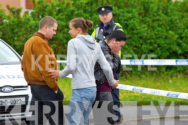 Deceased womans sister Kristina (in Black)and her husband Viadas at the scene of the Double murder at Langford Downs Killorglin on Monday Morning