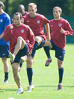 USA's, from left to right, Landon Donovan, Jimmy Conrad and Steve Cherundolo during practice in Hamburg, Germany, for the 2006 World Cup, June, 9, 2006.