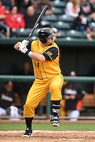Jacksonville Suns  first baseman Rich Poythress (44) at bat during a game against the Pensacola Blue Wahoos on April 20, 2014 at Bragan Field in Jacksonville, Florida.  Jacksonville defeated Pensacola 5-4.  (Mike Janes/Four Seam Images)